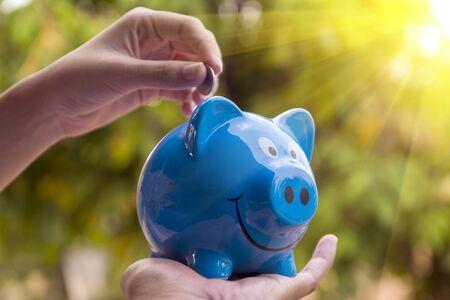 piggy save money concept, piggy bank on nature background Banco de Imagens