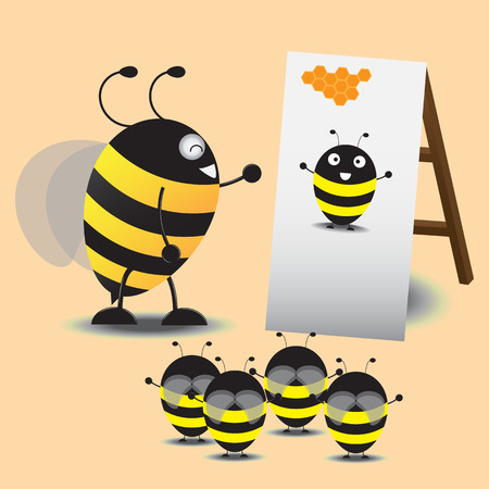 taught: big bee taught the little bee to act like picture