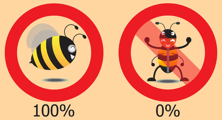 false: real bee and false bee in circle
