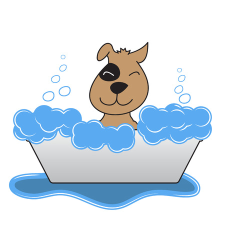 pet grooming: Happy Dog Takes A Bath