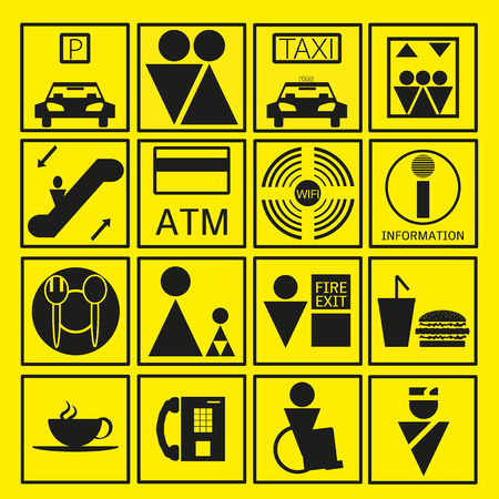 Black Shopping Mall Icon In Yellow Background Illustration Vector
