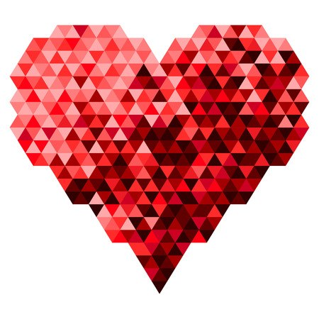 heart tone: Heart Made Of The Triangle In Red Tone Color. Vector Illustration