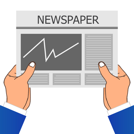 article writing: Two Hand Holding A Newspaper. Vector Illustration