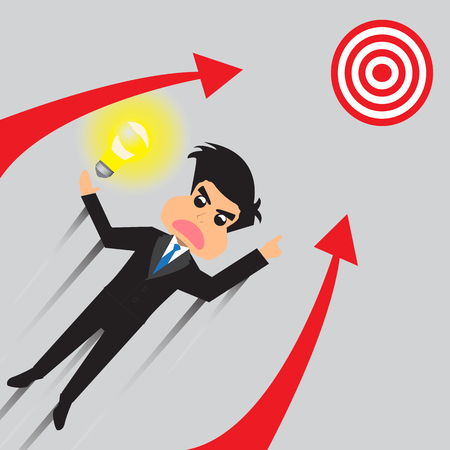 soar: Businessman Soar To Target With Idea. Vector Illustration