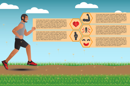 advantages: Infographics For Advantages Of Running And Jogging. Vector Illustration Illustration