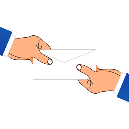 mailmen: One Hand Giving A Envelope. Vector Illustration