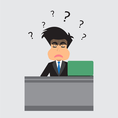 confusion: Businessman With Confusion. Vector Illustration