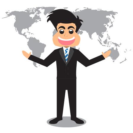 Cartoon Businessman And World Map Background. Vector Illustration Illustration