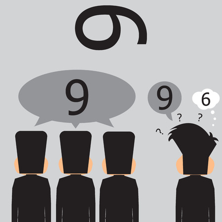 perceive: Majority Of Businessmen That It Is Number Nine. Vector Illustration