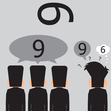 Majority Of Businessmen That It Is Number Nine. Vector Illustration