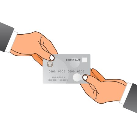 10 fingers: One Hand Giving A Credit Card. Vector Illustration Illustration