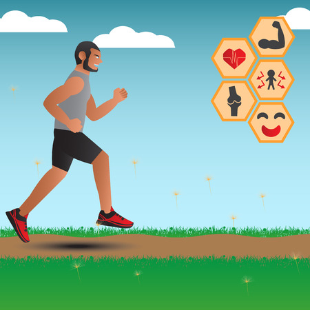 advantages: Infographics For Advantages Of Running. Vector Illustration