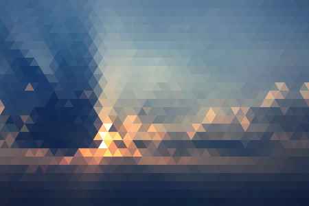 sunset: Abstract Beautiful Sunset In Clouds Geometric Triangular Low Poly. Vector Illustration Illustration