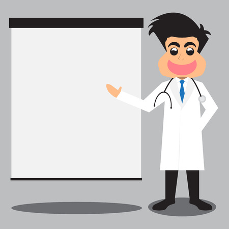 physiotherapist: Doctor With His Presentation. Vector Illustration