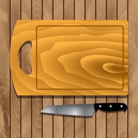 furnier: Schneidebrett und Messer auf Holzbrettern. Vector Illustration Illustration
