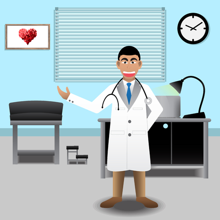 doctor vector: Doctor At Medical Office In The Hospital. Vector Illustration