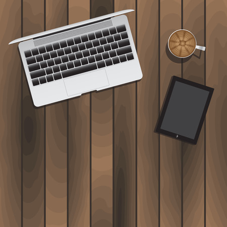 working place: Laptop Tablet Cup Of Coffee On Wooden Table. Vector Illustration