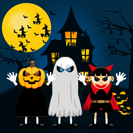 treating: Halloween Party With Children Trick Or Treat. Vector Illustration