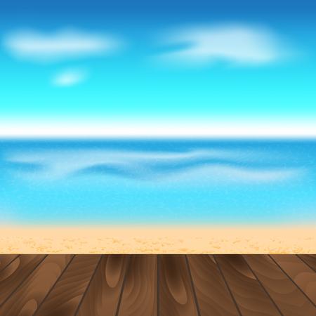wooden floor: Wooden Floor And Beach Background. Vector Illustration
