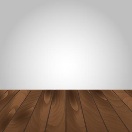 arrange: Wooden Floor And White Wall For Arrange. Vector Illustration Illustration