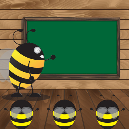 taught: Big Bee Taught The Little Bee With Blackboard On Wooden Floor And Wood Background. Vector Illustration