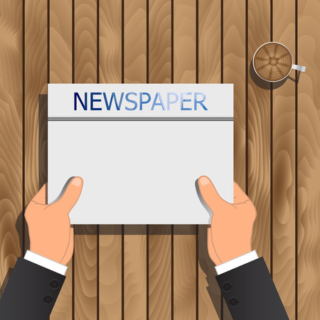 article writing: One Man Read A Newspaper On Wooden Boards. Vector Illustration