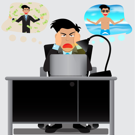 to decide: Businessman Decide Between Doing Overtime Or To Go On Vacation. Vector Illustration