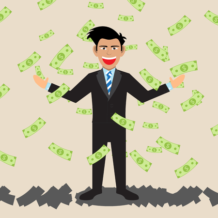 lucky man: Businessman With Money Falling. Vector Illustration