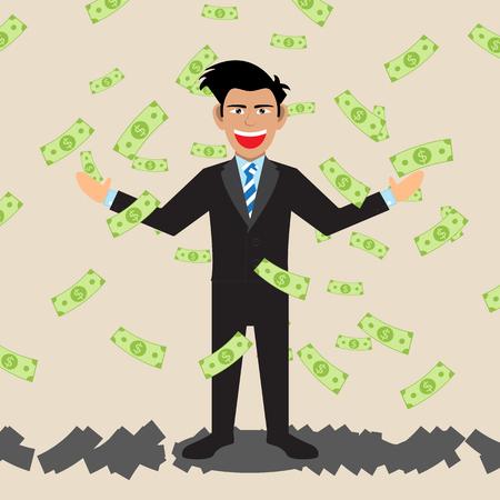 grabbing: Businessman With Money Falling. Vector Illustration