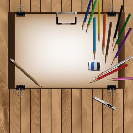 arrange: Drawing Board And Color Pencils For Arrange On Wooden Table. Vector Illustration