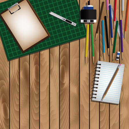 arrange: Office Equipment And Empty Space For Arrange On Wooden Table. Vector Illustration
