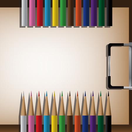arrange: Drawing Board, Color Pencils And Space For Arrange. Vector Illustration Illustration