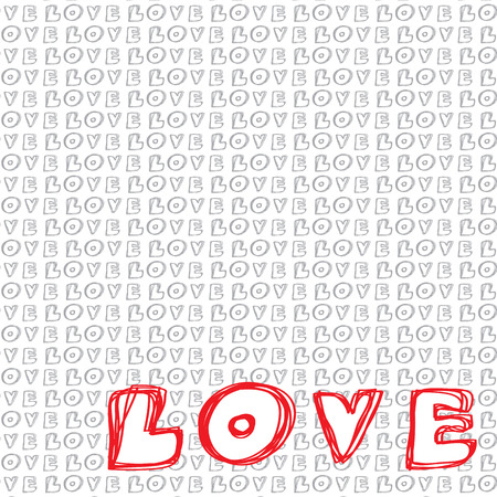 Handwritten Love Words Background. Vector Illustration Illustration
