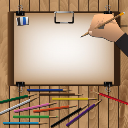arrange: Drawing board And Hand With Pencils For Arrange On Wooden Table. Vector Illustration Illustration
