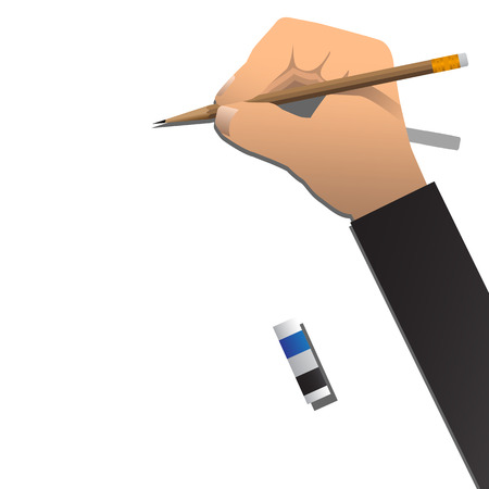 hand pencil: Right Hand With Pencil And Eraser On White Background. Vector Illustration