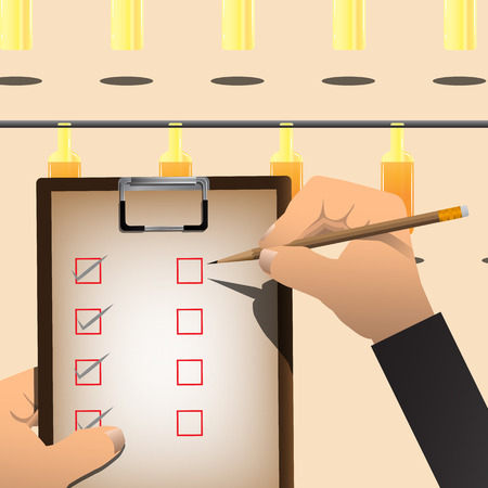 conveyor system: Hand Holding Clipboard With Pencil Checking A Product. Vector Illustration