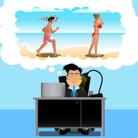 time to work: Businessman Dreams To Travel At Office On Time Work. Vector Illustration