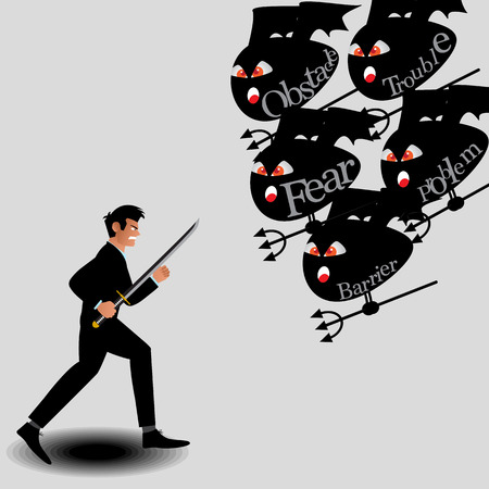 ordeal: Businessman Fighting With Monster From Obstacle Of Work. Vector Illustration