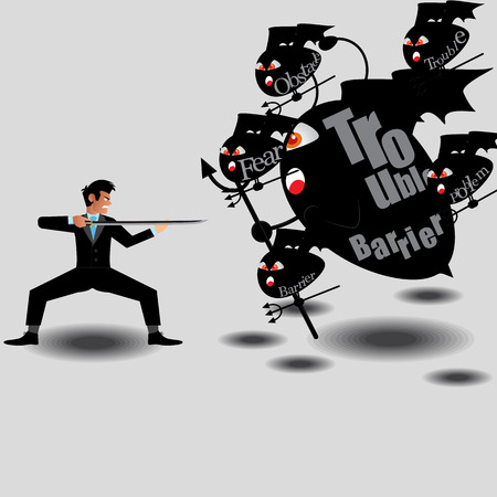 obstacle: Businessman Fighting With Monster From Obstacle Of Work. Vector Illustration