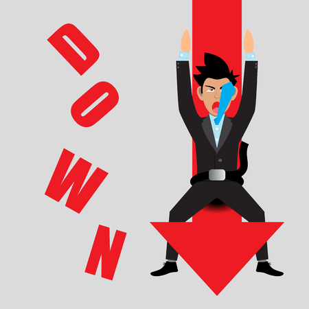 drop down: Businessman Falling Down With Arrow Graph Drop. Vector Illustration