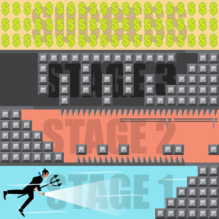 uphill: Businessman Playing Games Of The Success. Vector Illustration