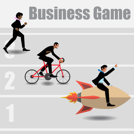 Race Of Businessmen Go To The Success. Vector Illustration