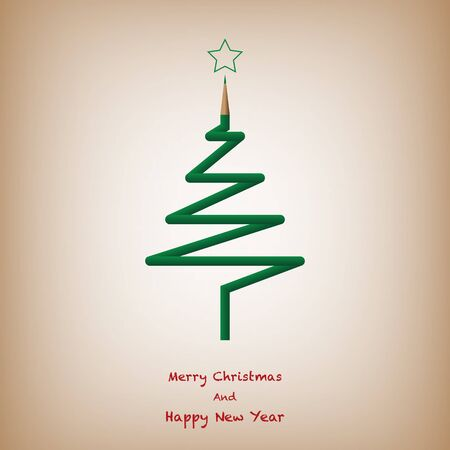 Color Pencil Christmas Tree, Merry Christmas And Happy New Year Background. Vector Illustration Vettoriali