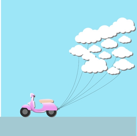 vespa pull cloud with fly on sky.