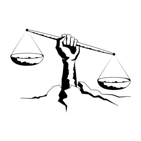 Libra de la muestra del zodiaco. dibujo de la mano realista. hacer gráfico con el trabajo a mano. símbolo de honesto. deseo siento tortura ideología para escalas. ilustración del vector.