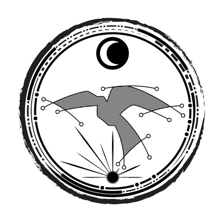 tattoo line style illustration of abstract bird and star create shape set inside circle with star sun and moon, for freedom feeling and life for tomorrow.