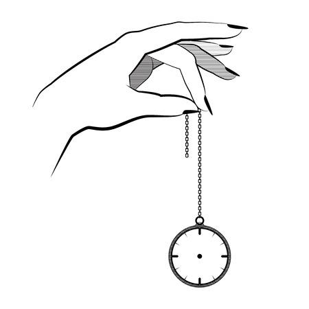 psique: Concepto de hipnosis Asimiento de la mano en un reloj de bolsillo de cadena. control mental. diseño plano ilustración vectorial. aislado en el fondo. dibujo mano realista. desear una paz. diseño de tatuaje. símbolo del tatuaje Vectores
