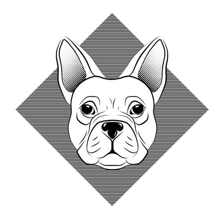 Frans buldoghoofd dat op witte achtergrond wordt geïsoleerd. lijn tattoo ontwerp dierenkop. Vector illustratie.