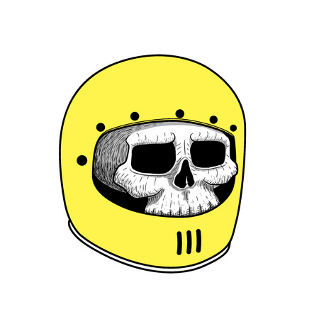 Hand drawing of skull wearing motorcycle helmet. tattoo graphic. vector illustration. retro classic style. Illustration