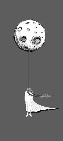 女性は満月に死ぬためにハングアップします。夜の暗闇と満月の誰かが孤独のシンボル。灰色の背景に分離されたテンプレート。ラインの入れ墨のデザインを描く。線画イラスト。 写真素材 - 86425552